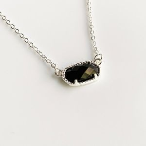 NEW Small Oval Necklace (silver + black)